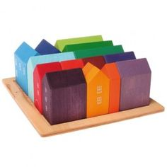 Village Building Blocks Set. 15 buildings to create colorful cities and towns. Made in Germany. $74.95