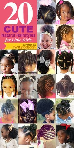 20 Cute Natural Hairstyles for Little Girls - From pony puffs to decked out cornrow designs to braided styles, natural hairstyles for little girls can be the cutest added bonus to their precious little faces.