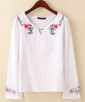 latest design china girls top embroidery designs long sleeve ladies plus size cotton loose white tee shirt /t shirt tshirt