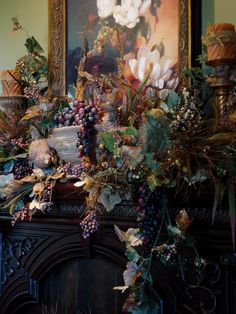 close-up view of pretty fall mantel