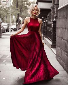 Long Red Chiffon Prom Dress, 2017 New Fashion