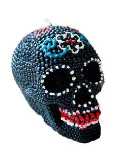 """""""Sugar Skull"""" Beeswax Candle by Inked (Black) #InkedShop #InkedMag #Sugar #Skull #Beeswax #Candle #Black"""