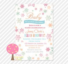 gender neutral Baby It's Cold Outside Baby Shower Invitation by PinkLemonadeTree