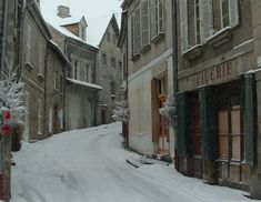 snow in Aubusson,France.