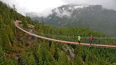 Near Squamish, British Columbia, the dizzying Sky Pilot Suspension Bridge leads to trails that wind through the forest. Photo by Margo Pfeiff.