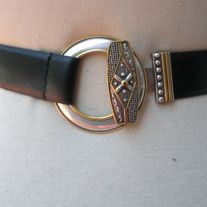 """Chico's BLACK Leather GOLD BRASS Cable Circular Abby Wrap Belt  DESIGNER: Chico's Marked SIZE:   M/L; will fit waist UP TO 41""""; width 1""""  Material: leather; METAL Condition: Great Vintage Condition  Additional belts are available if you are looking for a specific color or type that may be i..."""