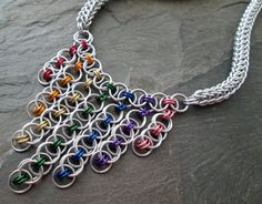 Chainmaille Necklace - Helm and Full Persian - Rainbow Jewelry - Rainbow Chainmaille - Pride Necklace - Chainmail Jewelry by Lunachick on Etsy https://www.etsy.com/listing/462419257/chainmaille-necklace-helm-and-full