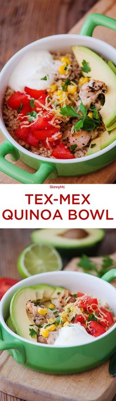 This Tex-Mex Quinoa Bowl is a healthier version of your favorite burrito bowl!