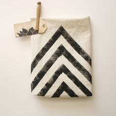 Hand Printed Tea Stained Dish Towel - Chevron - Polka Dot - Black - Tan - Rustic - Desert - arrow