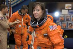Attired in a training version of her shuttle launch and entry suit, astronaut K. Megan McArthur, STS-125 mission specialist, awaits the start of a training session in the Space Vehicle Mockup Facility at Johnson Space Center back on January 29th, 2008