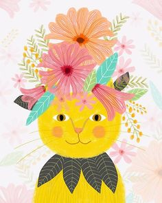 "Mia Charro  on Instagram: ""Flowers and cats everywhere! Gatos y Flores por todas partes! #flowers #miacharro #naturelovers #illustration #cat #nature…"""