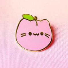 What do you get when you combine a round pink fruit with a cute cat? The answer is Peach Kitty! This precious pin will be an adorable addition to your book bag, Pink Fruit, Jacket Pins, Kawaii Accessories, Cool Pins, Metal Pins, Pin And Patches, Pin Badges, Cute Stickers, Lapel Pins