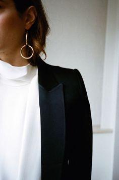Classic blazer, black tuxedo blazer, white blouse, minimalist chic, minimalist earring, modern jewelry, fashion over 40