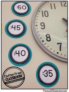 Clutter-Free Classroom: Telling Time Helpers Around the Clock {Classroom Design Photos, Set Up Pictures & Ideas, Organization & Management}