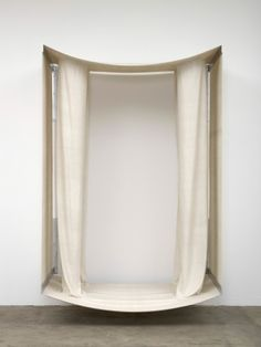 Daniel Sinsel  Untitled, 2011  unseamed raw silk, aluminum brackets  243 x 180 x 130 cm