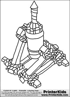 Clash Of Clans - Air Defense - Coloring Page