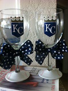 Want these!! Kansas City Royals Wine glass. $15.00, via Etsy.