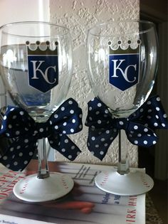 Want these!! Kansas City Royals Wine glass. $15.00, via Etsy.