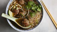 Simply Asia® Pho Beef Broth with cinnamon, star anise and ginger makes it easy for you to cook Asian-style pho at home. Slurp our twist on the traditional soup made with baked meatballs and hot chili sauce for a kick. Pho Beef, Beef Broth, Orzo Recipes, Salad Recipes, Asian Meatballs, Meatball Soup, The Fresh, Fresh Start, Soups And Stews