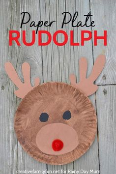 Easy Paper Plate Rudolph Craft for Kids , Paper Plate Rudolph - a fun Christmas Craft for Kids inspired by the story, song and movie Rudolph the Red Nosed Reindeer. Paperplate Christmas Crafts, Christmas Crafts For Kids To Make, Christmas Activities, Kids Christmas, Holiday Crafts, Christmas Crafts For Kindergarteners, Classroom Crafts, Preschool Crafts, Christmas Paper Plates