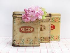 set of 3 French tin canisters set box shabby chic by FrenchMelody