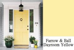 How cute would a house be with grey siding, crisp white trim, and an adorable yellow accent front door? Bright Front Doors, Yellow Front Doors, Painted Front Doors, Front Door Colors, Door Paint Colors, Exterior Paint Colors, Exterior House Colors, Exterior Design, Siding Colors