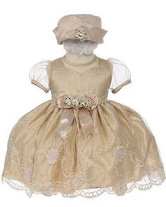 Elegant Baby Girl Latte Beige Dress & Hat. Available in 12,18,24,36 Months:Amazon:Clothing