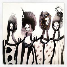 """""""Girls night out"""" Akvarell illustration By Emma Larsson etsy.com zebrakadebra"""