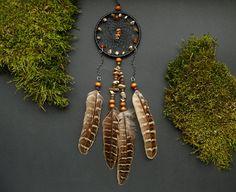 Baltic amber dream catcher rear view mirror by DeiDreamCatchers