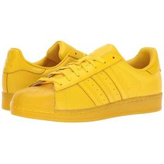 adidas Originals Superstar AdiColor (Yellow/Yellow/Yellow) Athletic... ($90) ❤ liked on Polyvore featuring shoes, stripe shoes, leather upper shoes, laced up shoes, laced shoes and striped shoes