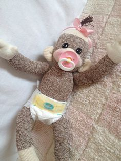 Made to order baby sock monkey by CutiePieBaby on Etsy, $30.00