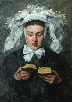 Thérèse Schwartze (Amsterdam artist, 1851-1918) Young Woman Reading in Brabant Costume