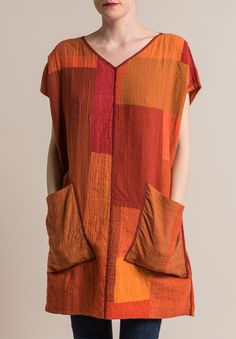 2-Layer Solid French Sleeve Tunic in Orange