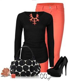 A Simple Look for 2014, black knit top, orange skinnies and black pumps