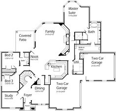 House Plans by Korel Home Designs  Not sure about the staircase, but truly like a lot of this plans features.  Add French doors in master with private patio