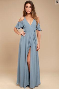 697cbf32b99d Easy Listening Slate Blue Off-the-Shoulder Wrap Maxi Dress