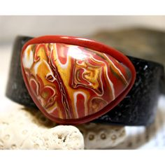 Bangle bracelet polymer clay big cabochon and by rivervalleydesign,