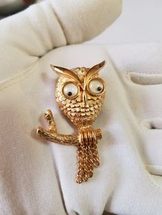1970s Avon Owl Brooch/Pin with Big Eyes Owl by Beadgarden55