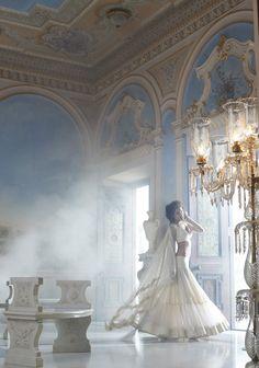 enchanting flowy white lehenga
