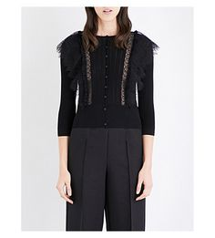 VALENTINO Wool And Lace Cardigan. #valentino #cloth #knitwear