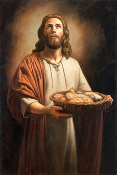 """Images of the New Testament by Jeff Ward ~ Jesus with """"Five Loaves & Two Fishes"""" looking heavenward"""