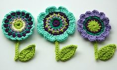 Items similar to Crochet Flowers with leaves, butterfly and stem - Crochet Garden Series on Etsy Rainbow Crochet, Love Crochet, Crochet Motif, Irish Crochet, Diy Crochet, Crochet Crafts, Yarn Crafts, Crochet Projects, Beautiful Crochet
