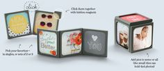 Story Tiles - Magnetic, 2-sided, modular tiles to hold photos, chalk boards, great quotes and images and can be arranged different ways!