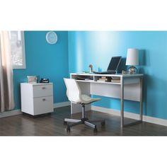 Interface White Wooden Desk - Overstock™ Shopping - Great Deals on South Shore Furniture Desks Business Furniture, Home Office Furniture, Furniture Decor, White Furniture, Modern Desk, Modern Table, Mobile File Cabinet, White Desks, Affordable Furniture