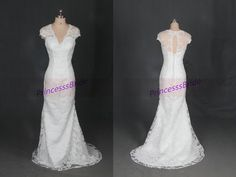 Ivory lace wedding gowns in 2015simple v-neck by PrincesssBride