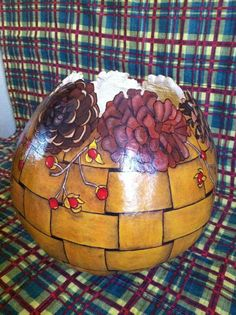 Handcrafted Pinecone Gourd Bowl- http://www.etsy.com/shop/ObladeeObladebb?ref=l2-shop-info-name