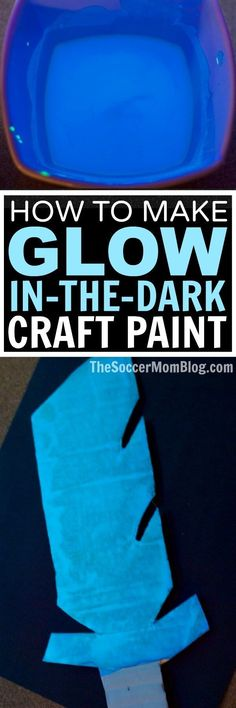An awesome non-toxic glow in the dark paint recipe perfect for kids crafts. Easy to make with simple supplies, dries quickly & GLOWS with blacklight! (ad)