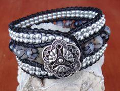 Black Crack Agate Leather Cuff Bracelet