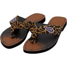 1ceccac05b46 Tennessee Titans Women s Cheetah Strap Flip Flops