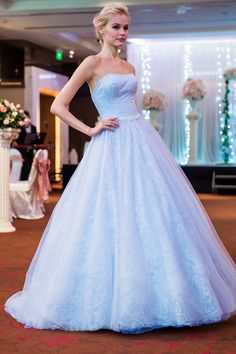 Cinderella blue coloured wedding gown. View the full collection from Louvre Bridal Beaute 2016 on SingaporeBrides.